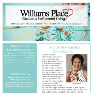 August Williams Place Gracious Retirement Living newsletter