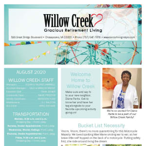 August Willow Creek Gracious Retirement Living newsletter