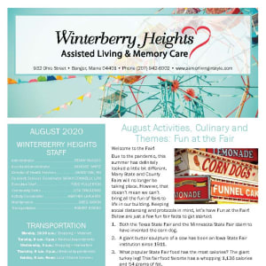 August Winterberry Heights Assisted Living and Memory Care newsletter
