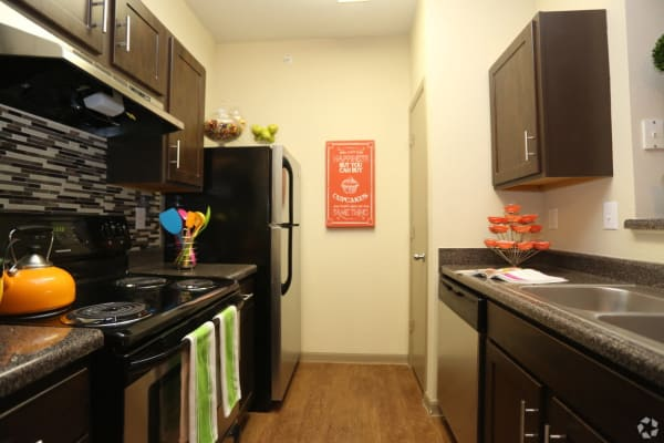 Kitchen with Granite-Look Countertops at The Parq on the Boulevard