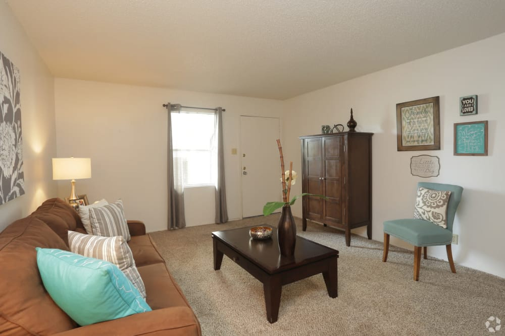 Large living room at Double Tree Apartments in El Paso, Texas