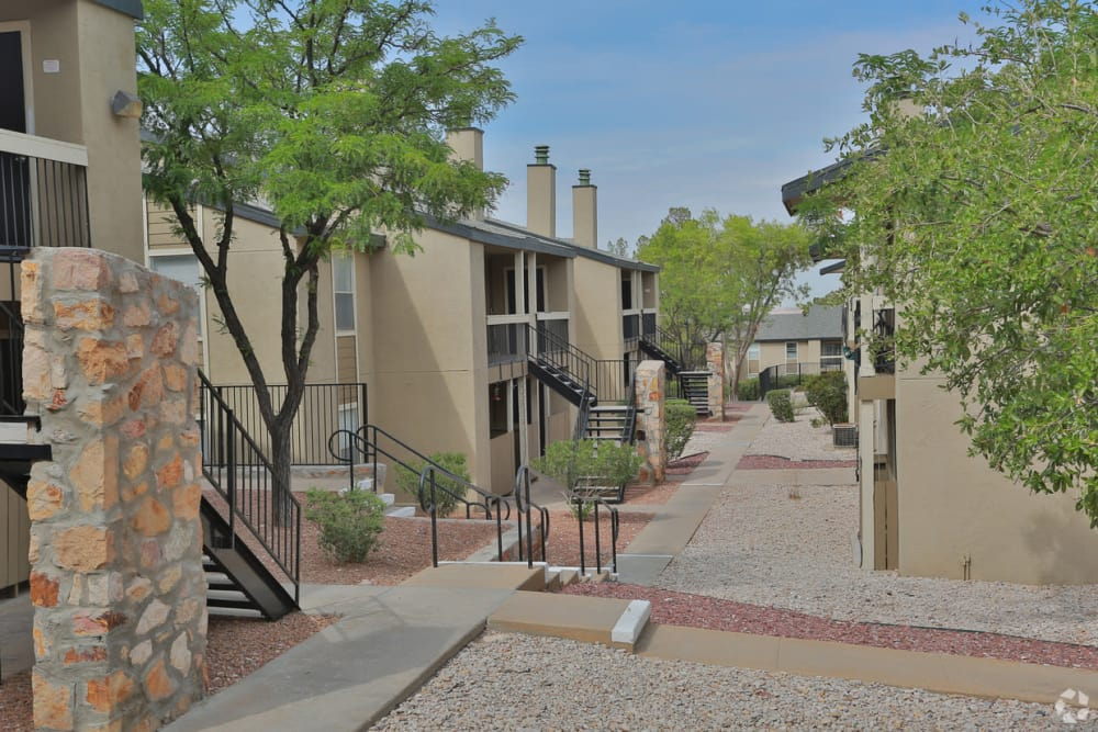 Walkways between buildings at Double Tree Apartments in El Paso, Texas