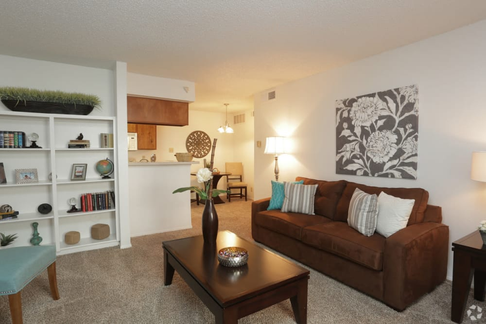 Living room with built-in bookshelves at Double Tree Apartments in El Paso, Texas
