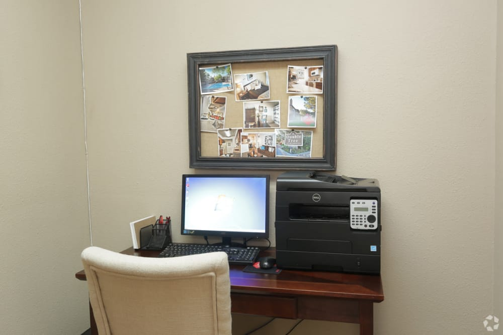 Resident use business center at Double Tree Apartments in El Paso, Texas