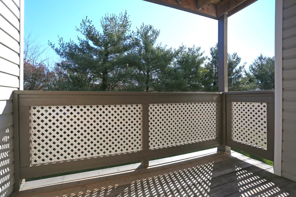 A private balcony at Laurel Pines Apartments in Richmond, Virginia