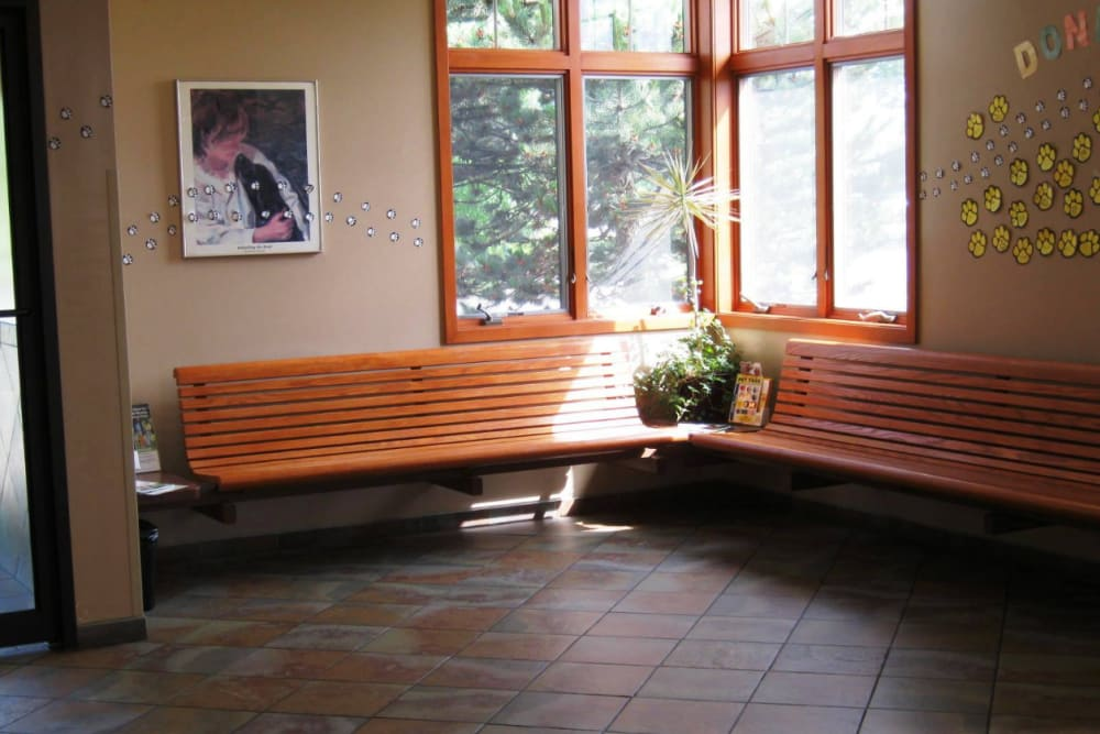 Waiting room benches at Niles Veterinary Clinic in Niles, Ohio