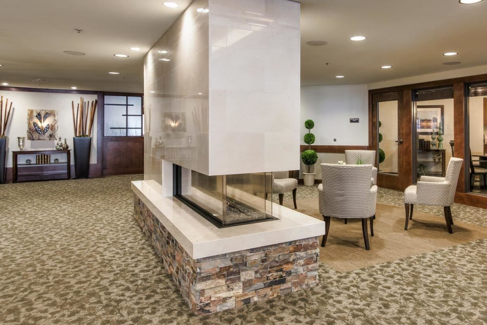 Delightful lounge area and fire place at The Springs at Carman Oaks in Lake Oswego, Oregon