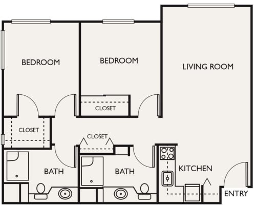 Assisted Living Two Bedroom II at Northgate Plaza in Seattle, Washington
