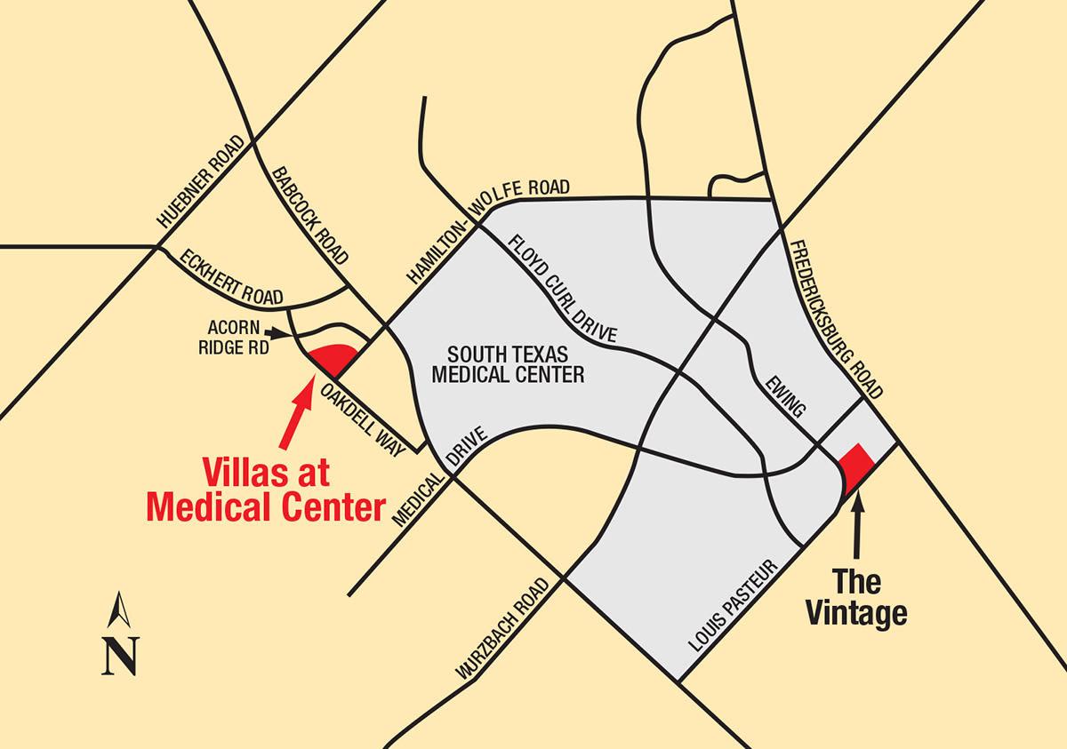 Map of Villas at Medical Center