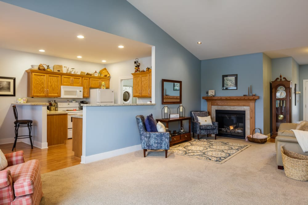 Open floor plans with a living room and kitchen at Glenwood Place in Marshalltown, Iowa.