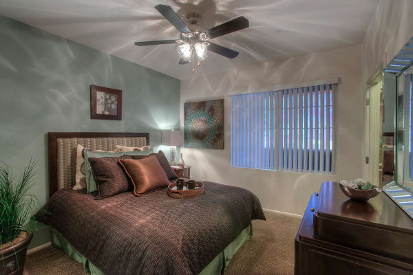 Master bedroom with ceiling fan at Park on Bell in Phoenix, Arizona