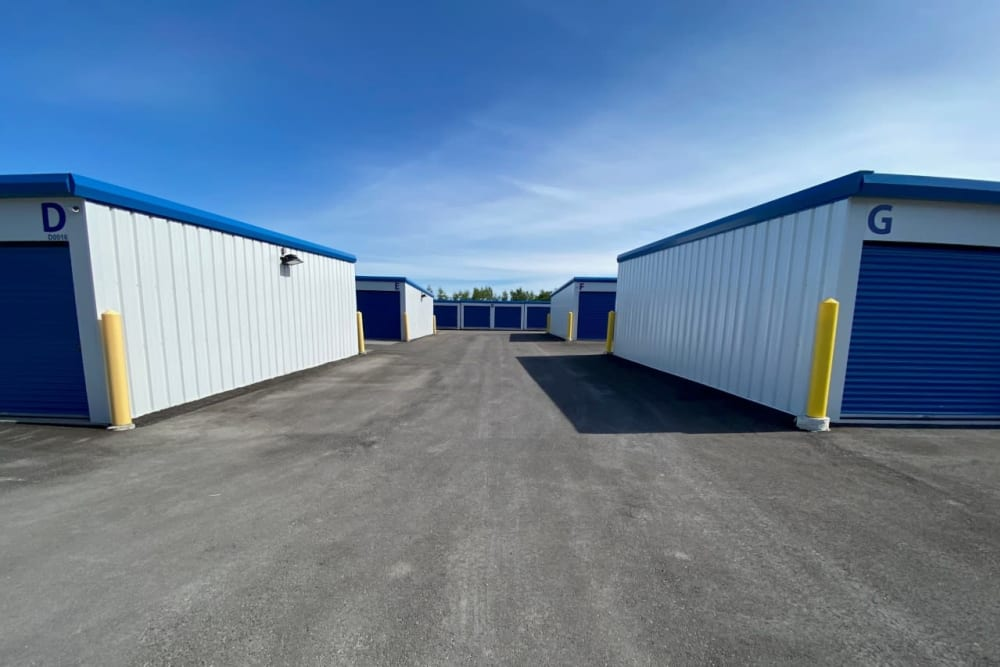Outdoor drive-up access storage at Vault Self Storage in Holland Landing, Ontario
