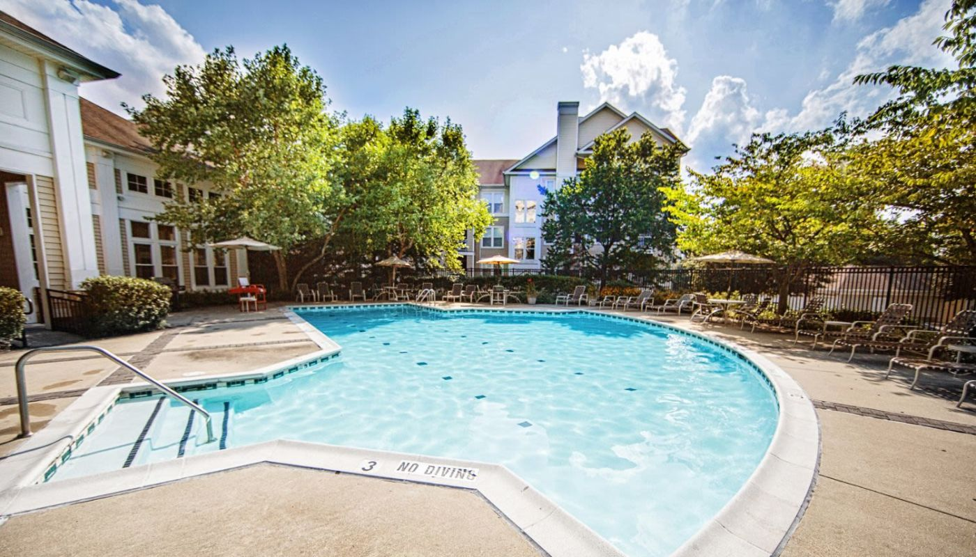Gorgeous day at the swimming pool at Arbor Ridge Apartments in Owings Mills, Maryland