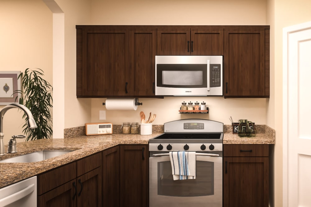 An apartment kitchen at Harmony at Oakbrooke in Chesapeake, Virginia