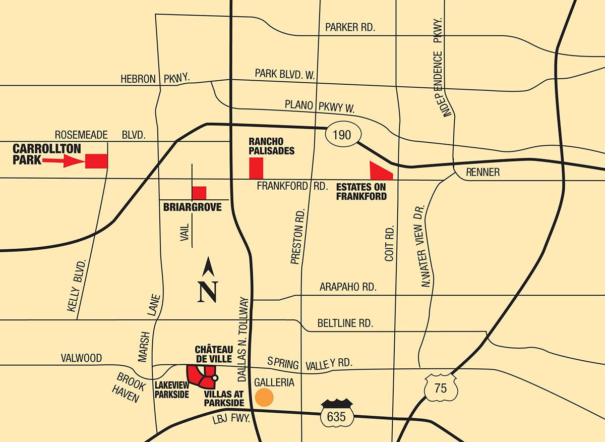 Map of Carrollton Park of North Dallas