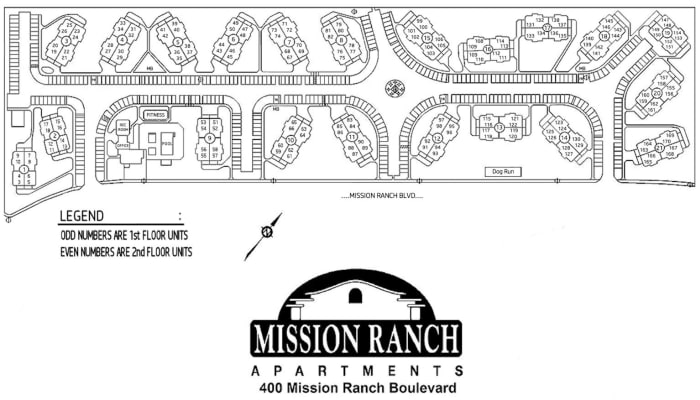 Mission Ranch Apartments site plan in Chico, California