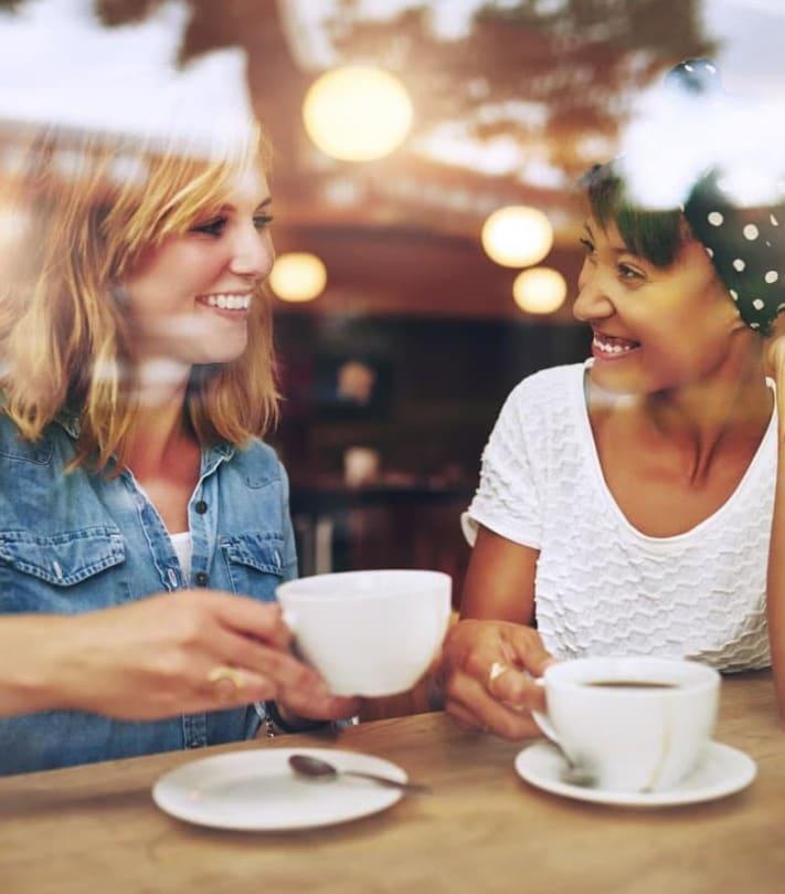 Residents enjoy coffee in the neighborhood around Shore Park at Riverlake in Sacramento, California.