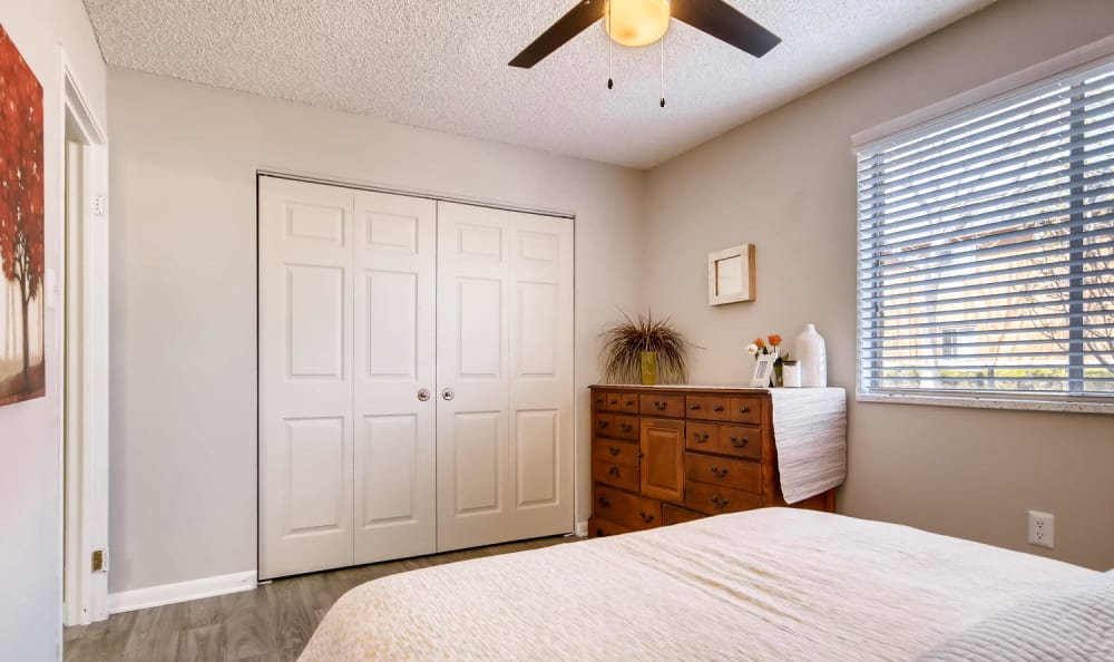Master bedroom with a large closet at Mountain Vista in Lakewood, Colorado