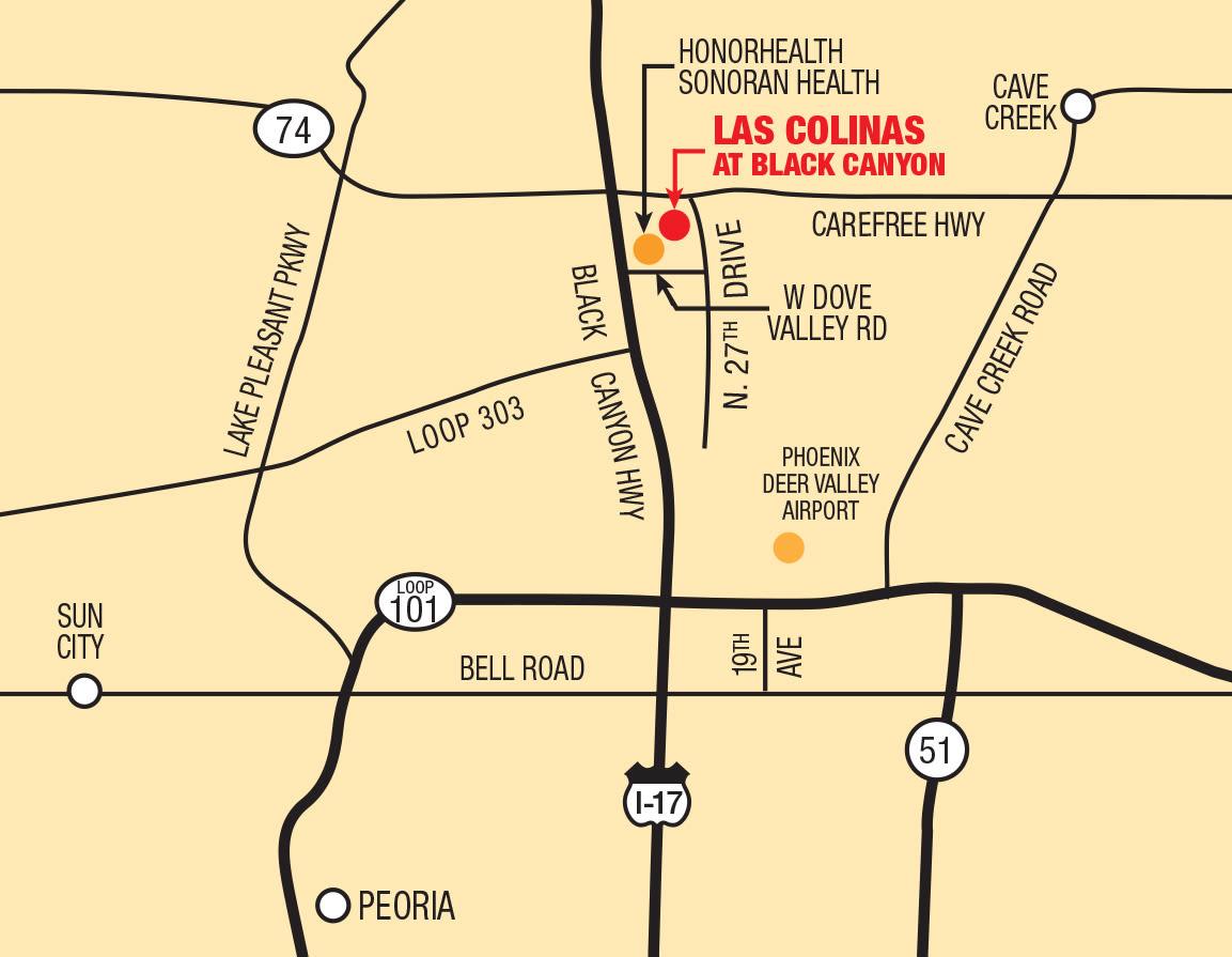Map of Las Colinas at Black Canyon