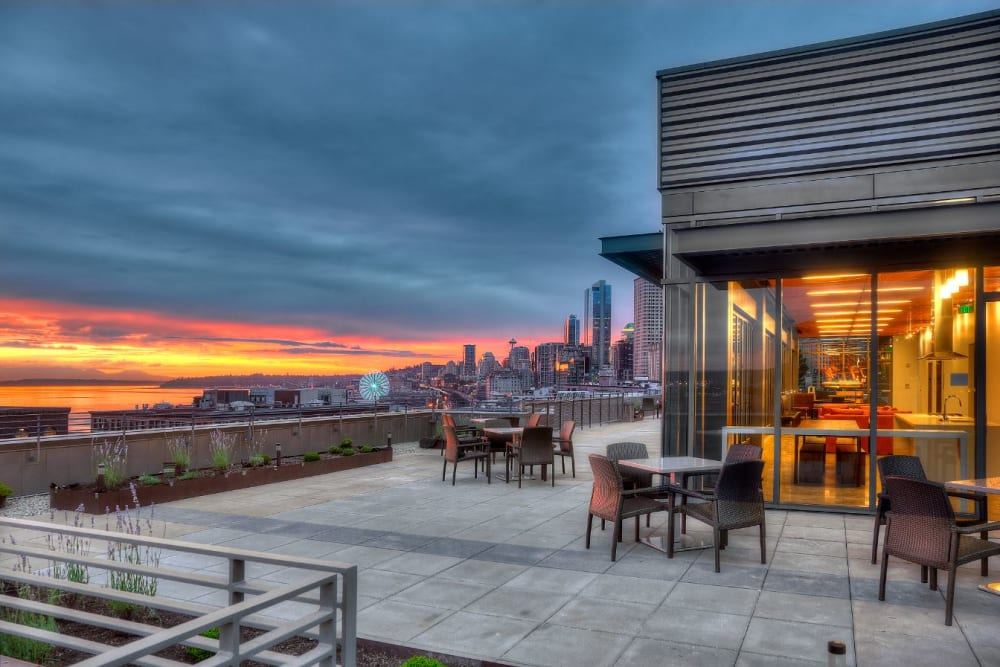 Outdoor rooftop lounge at The Nolo at Stadium Place in Seattle, Washington