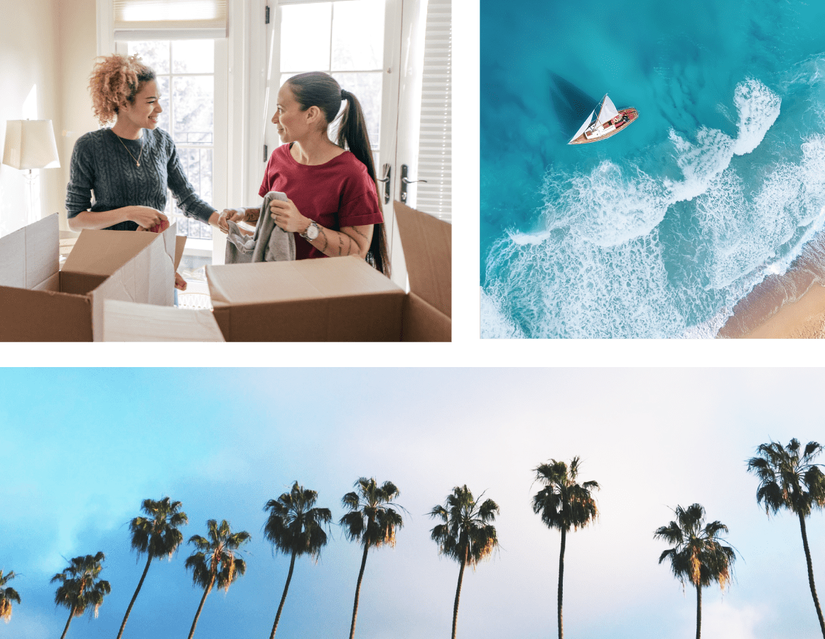 A mosaic including image of the beach and palm trees and two women packing boxes for storage at North County Self Storage in Escondido, California