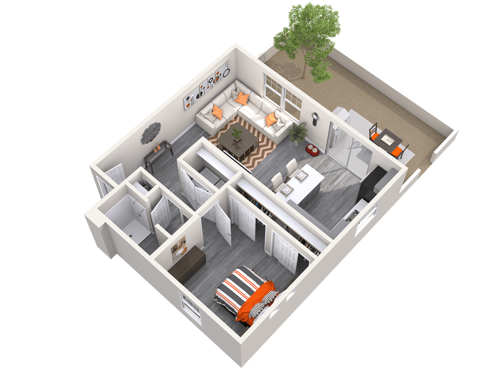 One Bedroom 3D Floor plan at Avilla Paseo in Phoenix, Arizona