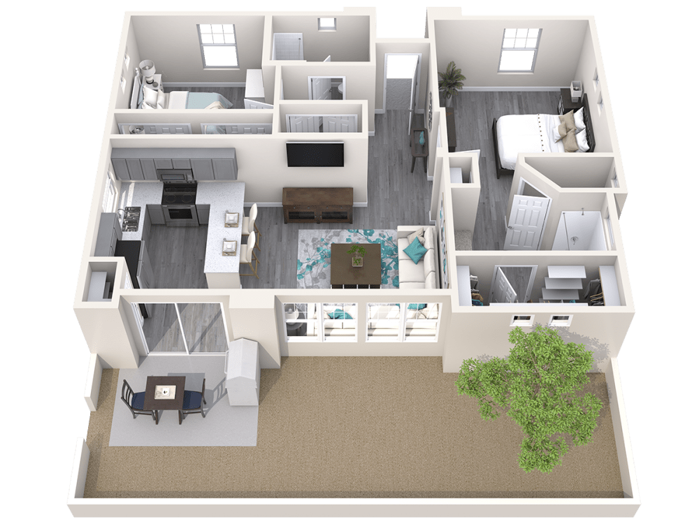 Two Bedroom 3D floor plan at Avilla Paseo in Phoenix, Arizona
