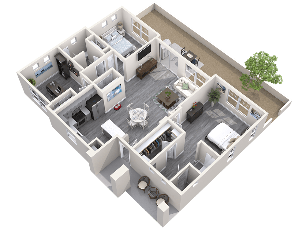 Three Bedroom 3D Floor plan at Avilla Paseo in Phoenix, Arizona