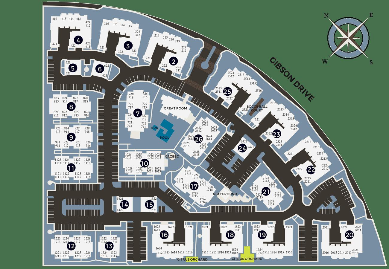 Community site map for Venu at Galleria Condominium Rentals in Roseville, California
