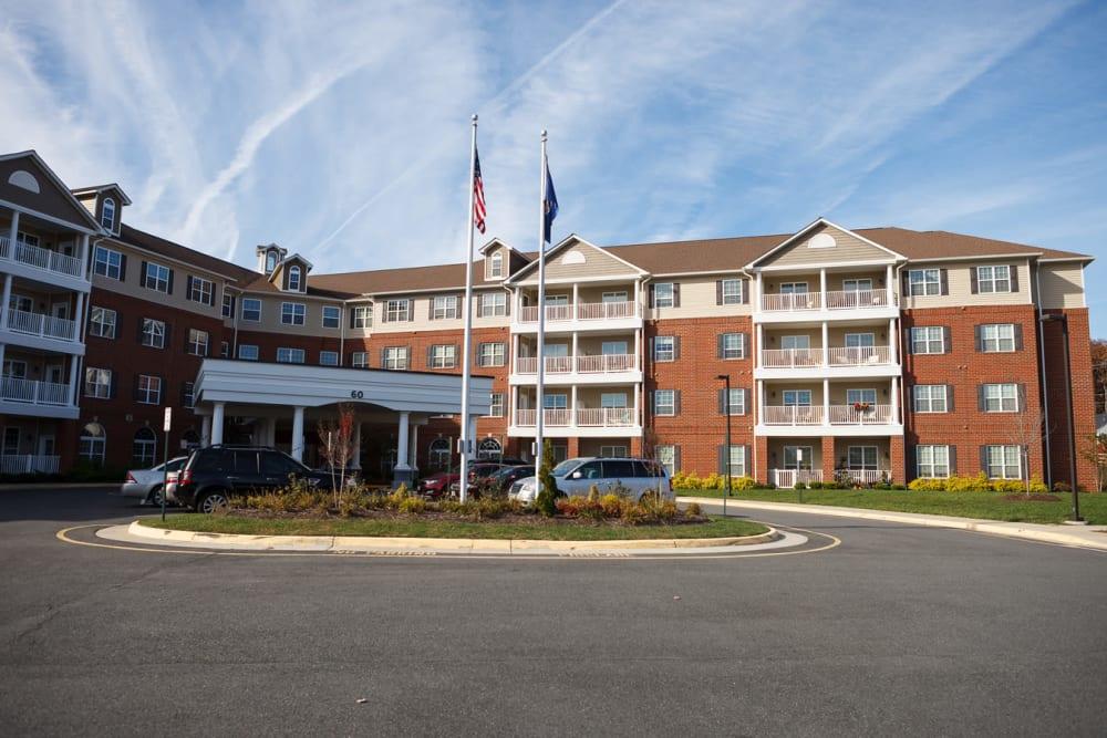 The exterior of the main entrance at Harmony at Falls Run in Fredericksburg, Virginia