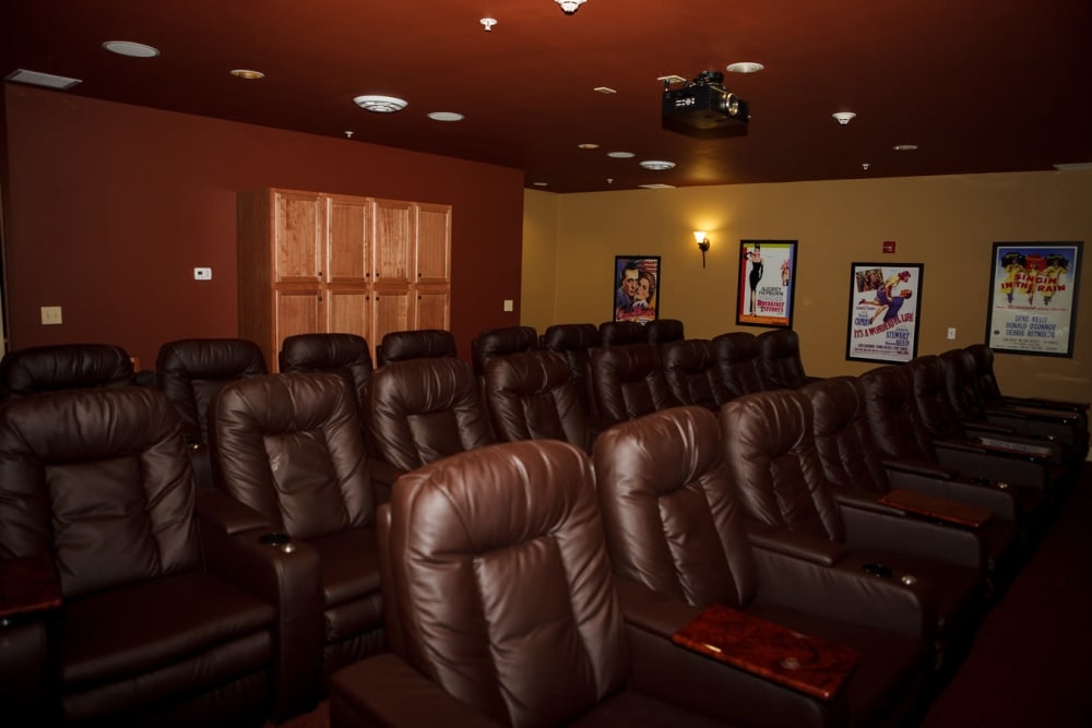 The onsite movie theater at Harmony at Falls Run in Fredericksburg, Virginia