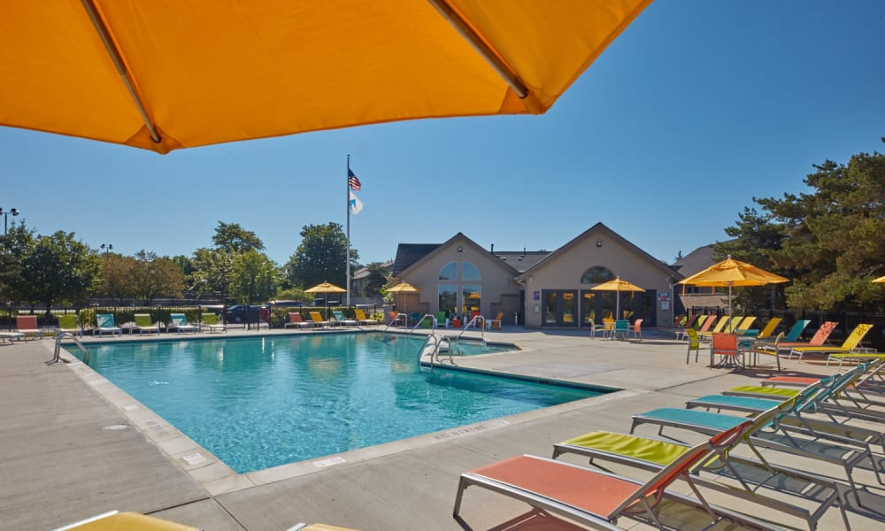 Swimming pool with sundeck on a sunny day at Lakeside Terraces in Sterling Heights, Michigan