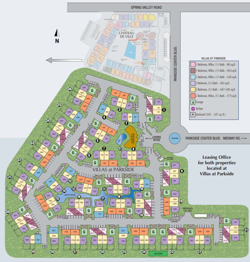 Site map of Villas at Parkside in Farmers Branch, TX