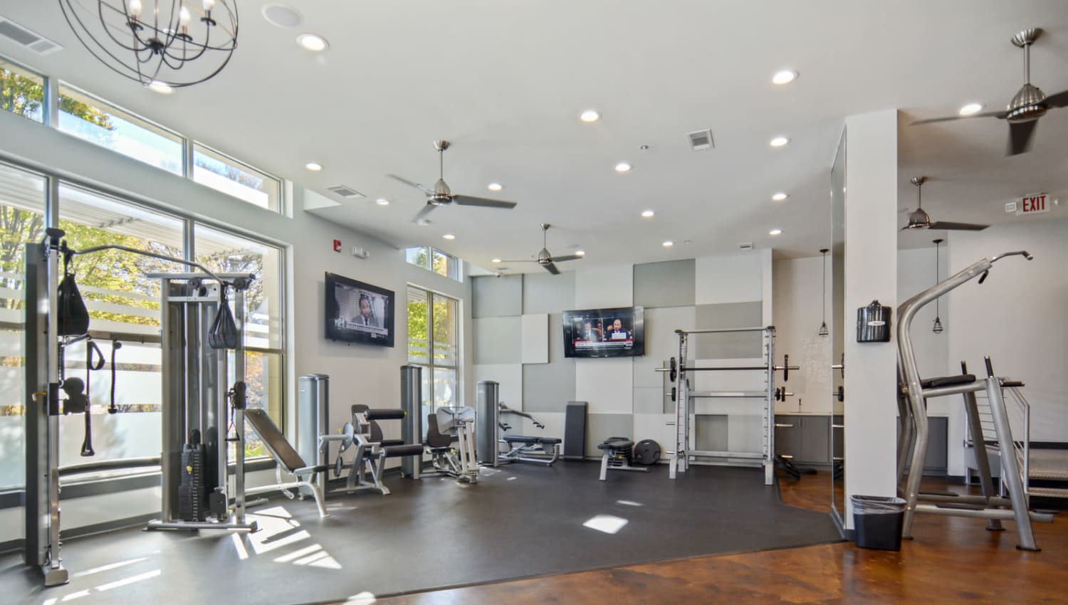 Well-equipped onsite fitness center at Ellington Midtown in Atlanta, Georgia