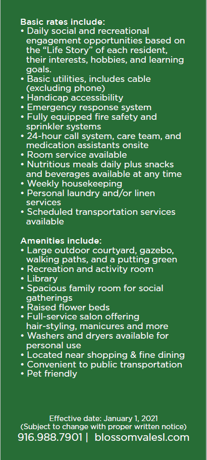 Blossom Vale Senior Living rates