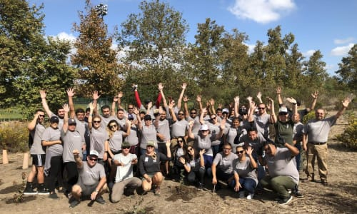 The Sequoia team at a giving back to the community event near Ballena Village Apartment Homes in Alameda, California