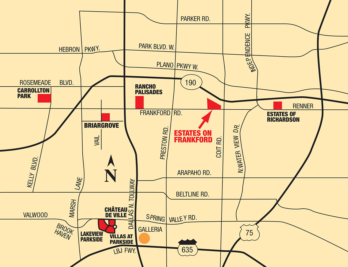 Map of Estates on Frankford