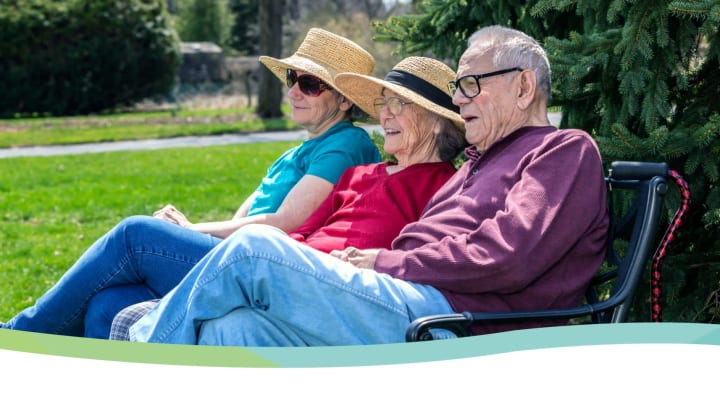 Seniors sitting in the sun