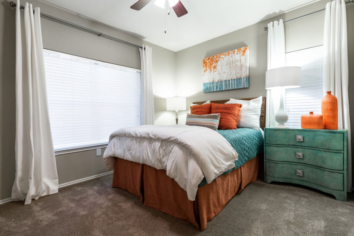 Bedroom modern style décor at Marquis at Ladera Vista in Austin, Texas