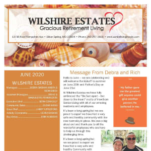 June newsletter at Wilshire Estates Gracious Retirement Living in Silver Spring, Maryland