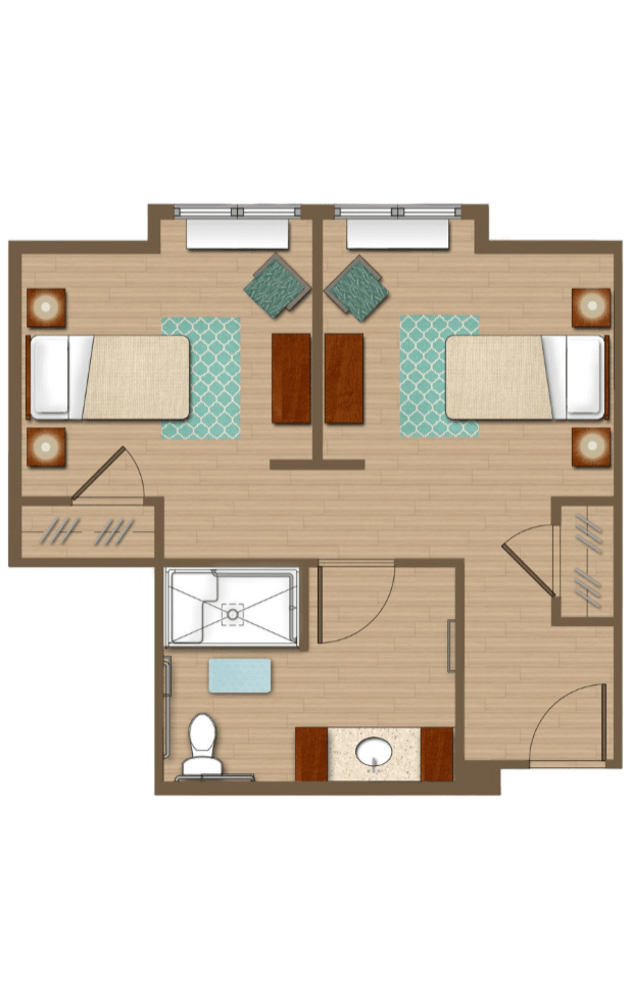Two bedroom floor plan at San Jose Gardens Alzheimer's Special Care Center in Jacksonville, Florida