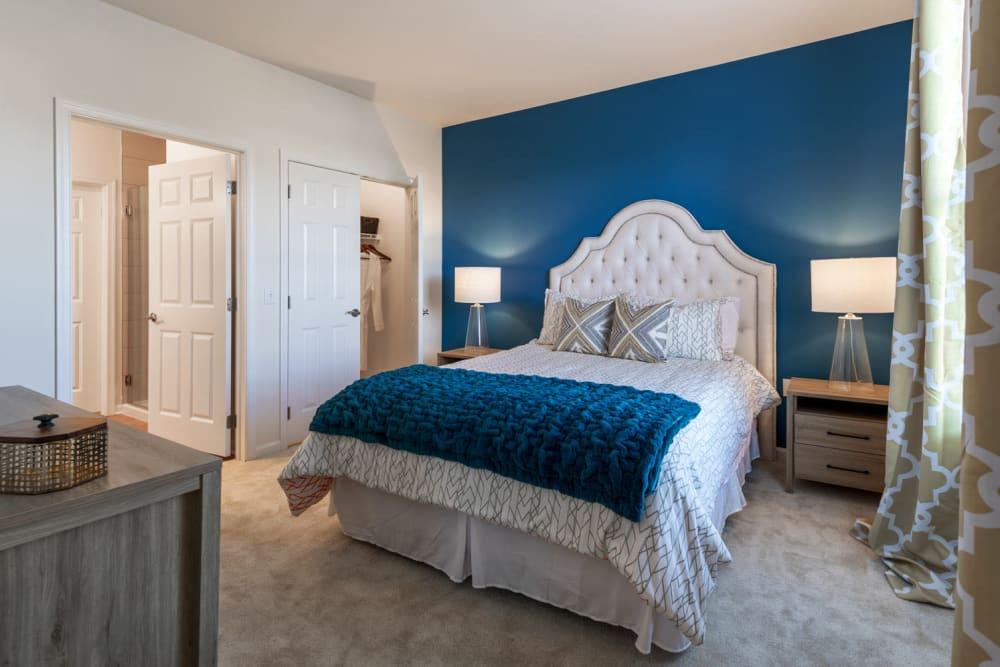 Model bedroom at The Royal Athena in Bala Cynwyd, Pennsylvania