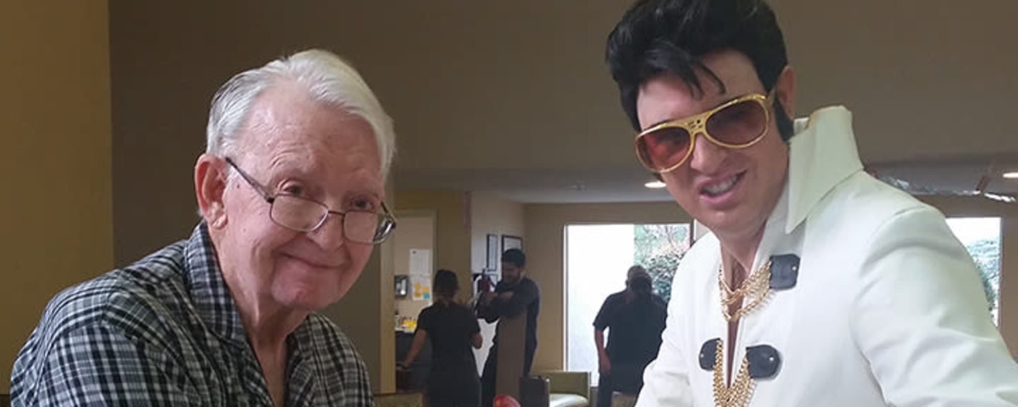 Elvis with seniors at Chancellor Gardens at Clearfield in Clearfield, Utah