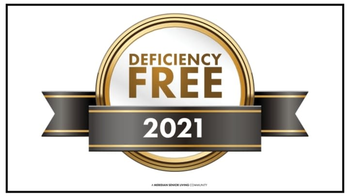 Gold and black award ribbon with text that says Deficiency Free 2021