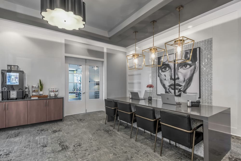 Leasing office with a coffee station at The Palmer in Charlotte, North Carolina