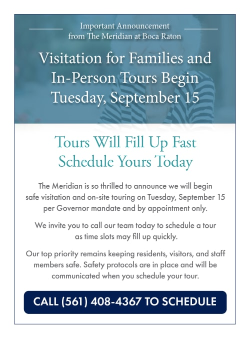 Visitation for families and in-person tours begin Tuesday, September 15. Call 561-408-4367 to schedule.