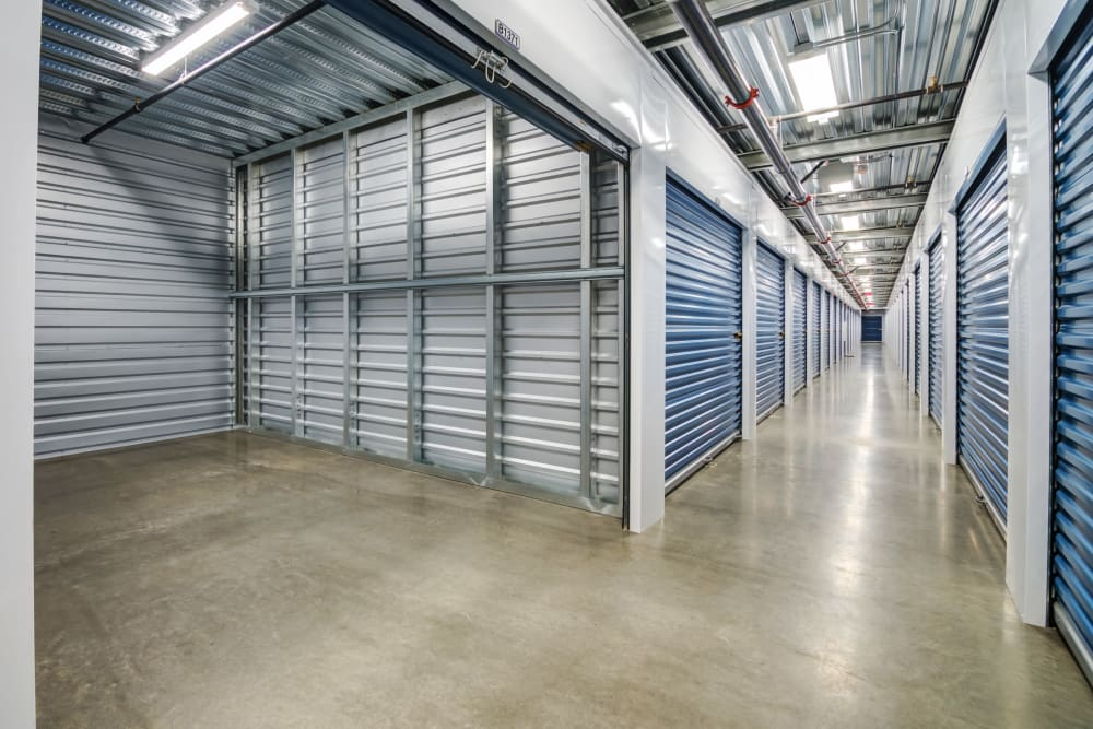 Clean interior hallways at Silverhawk Self Storage