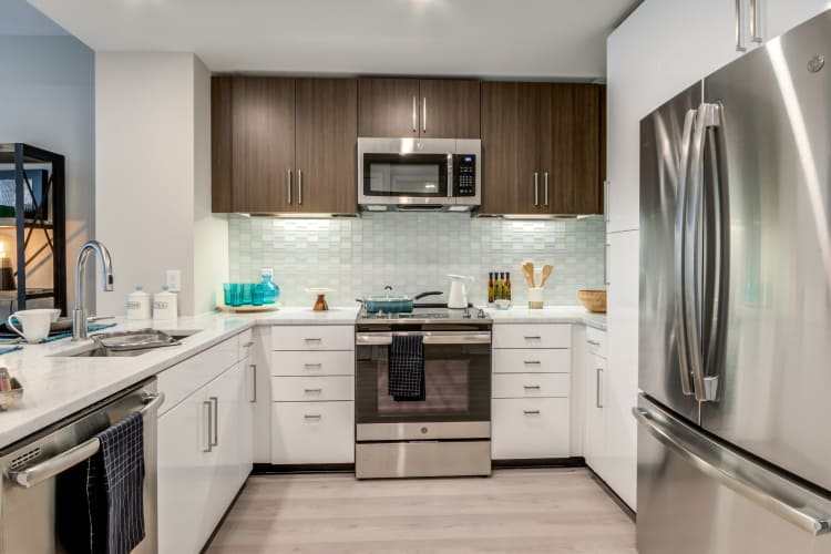 Full view of designer kitchen in luxury apartment home at Gallery Bethesda II in Bethesda, MD