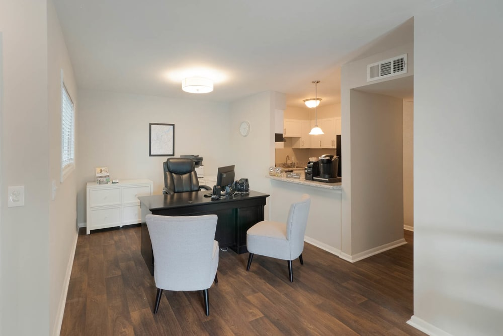 Office area with access to kitchen at Riverside North