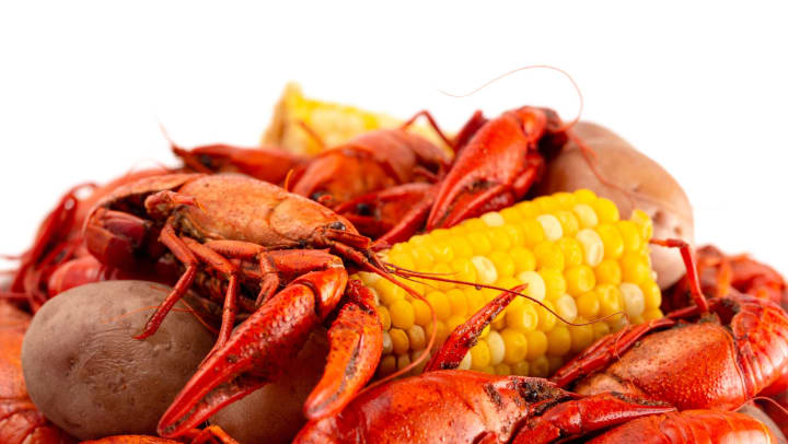Crawfish boil with corn on the cob and potatoes against a white background.